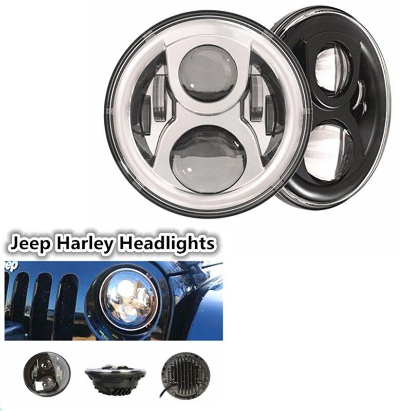 7 inch Round Driving LED Spot light Headlight High Low Beam Headlamp for JeeeP Wrangler Jk Tj Fj Hummer H1 & H2 Harley Davidso цена