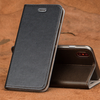 wangcangli brand phone case leather double lines of flip phone cover For iPhone X hand made handphone case