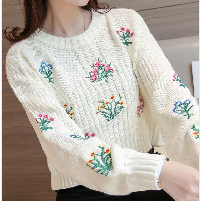 Mumuzi mujer suéter Tops mezcla de algodón patchwork bordado Loose ...