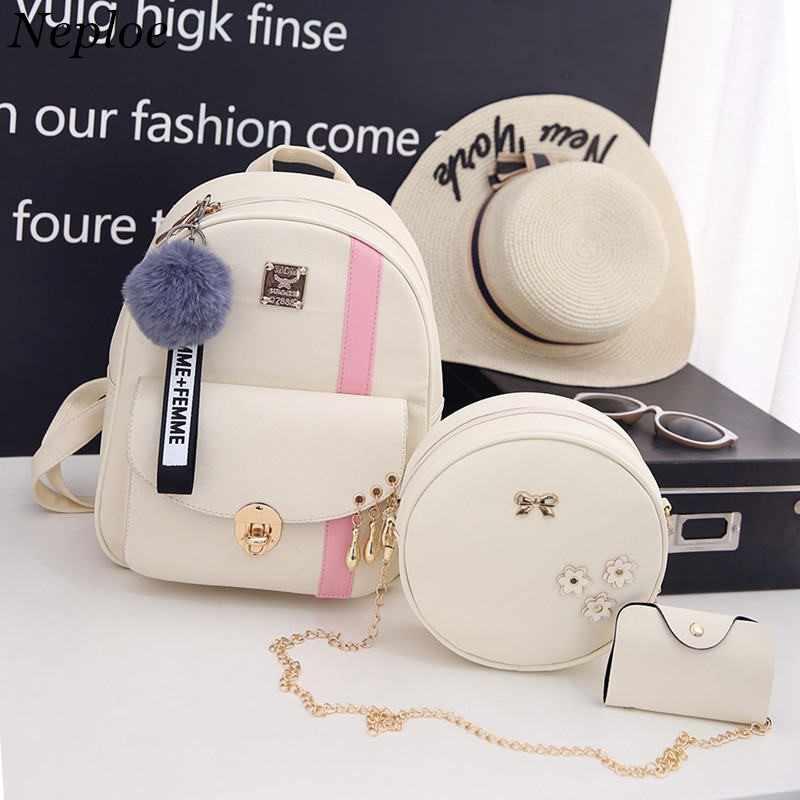 6369cafe3ced aotomo Backpack Women 3pcs Sets Korean Contrast Color Back Bag Backpacks  Mochila Backpack PU Leather Girls