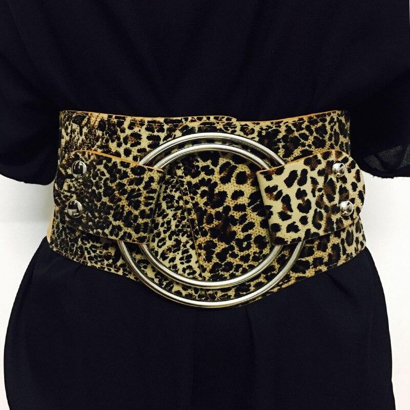 Invierno de 2018 mujeres de la marca de lujo de cinturón de leopardo Slim de Cintura amplia ronda de cuero de Metal elástico cintura ropa vestido Accesorios