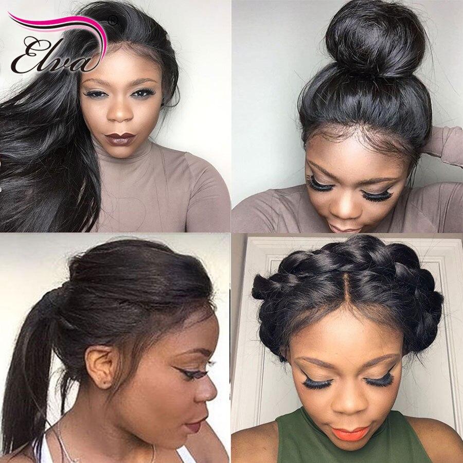 Elva ВОЛОС человеческих волос Full Lace парики предварительно сорвал натуральных волос с ребенком волосы прямые бразильские Волосы remy парики отбеленные узлы