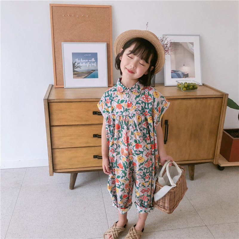 2019 Summer New Girls Children Short Sleeve Cotton Flower   Rompers   Infants Baby Kids Casual Loose Single Breasted Jumpsuit Cloth