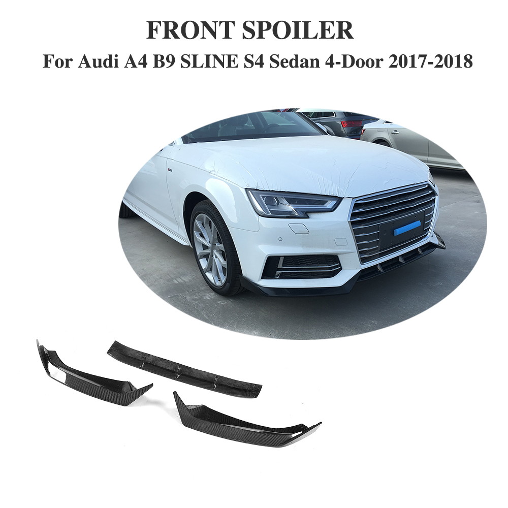 For Audi A4 B9 SLINE S4 Sedan 4 Door 2017 2018 Carbon Fiber / FRP Car Racing Front Bumper Lip Spoiler Car Accessories цены