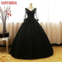 Black Long Sleeve Princess Quinceanera Dresses Ball Gown Beaded Girls Masquerade Sweet 16 Dresses Ball Gowns
