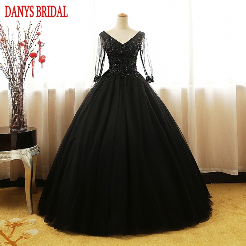 black long sleeve princess quinceanera dresses ball gown