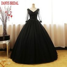 74a52096b2aeaae Черный с длинным рукавом принцесса Бальные платья бальное платье бисером  Обувь для девочек Маскарад сладкий 16 Платья для женщин.