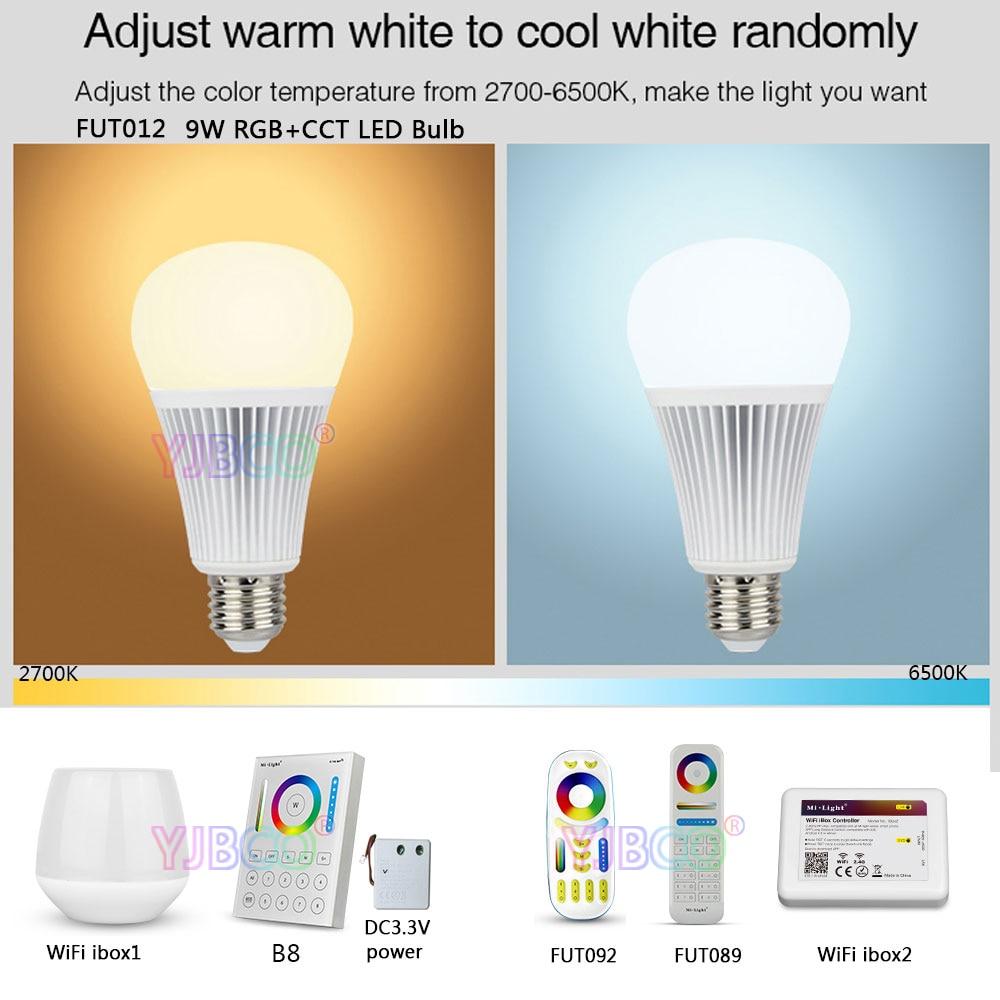 MiLight FUT012 E27 9W RGB+CCT LED Bulb Spotlight 110V 220V Full Color Remote Control Smart Bulb WiFi Compatible 4-Zone Remote 2 4g wifi android ios app remote control led globe light bulb e27 9w rgb