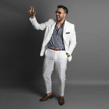 Summer Beach Linen White Men Suits for Wedding Man Jacket Casual Groom Tuxedo Best Blazer 2Piece Slim Fit Costume Homme