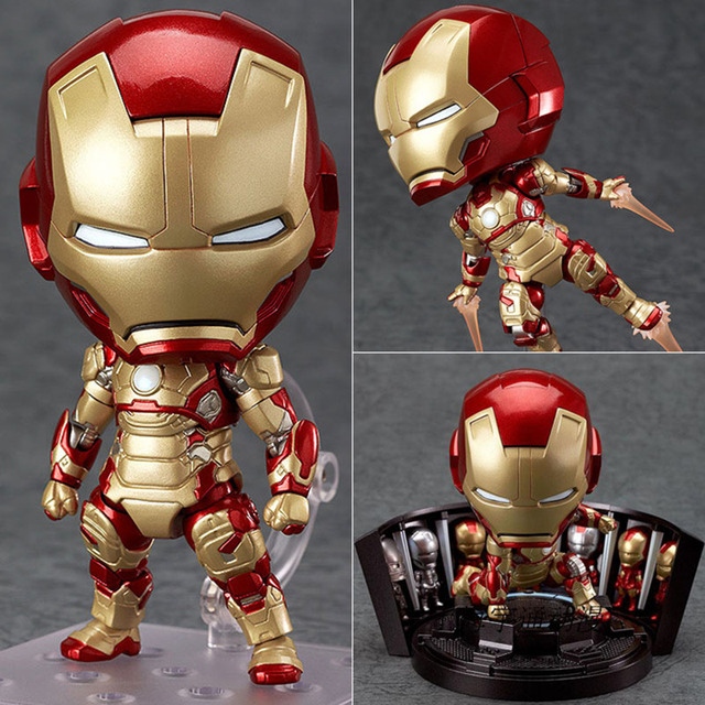 10 CM Nendoroid 349 Avengers Homem De Ferro Mk 42 Herói Edição + salão de Armadura Definir BJD Figura Modelo Brinquedos Figura de Ação de Super-heróis brinquedos