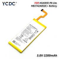 100% genuino 2200 mah hb3742a0ezc + batería para huawei p8 lite ale-l21 l23 l02 l04 de reemplazo de batería recargable