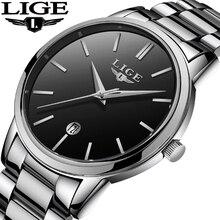 Часы наручные LIGE мужские с хронографом, брендовые роскошные стальные повседневные спортивные, водонепроницаемость 30 м