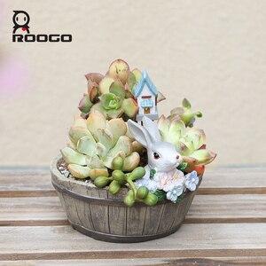 Image 2 - Roogo American Style FlowerPots Resin Flower Pots For Home Garden Decoration Wood Bonsai Pot Succulents Planters Orchids Cactus