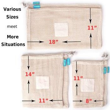 GreeOn Ecological Reusable Vegetable Fruit Bags - Reutilisable Cotton Mesh Cloth - Eco Friendly Zero Waste Produce Storage Bag 5