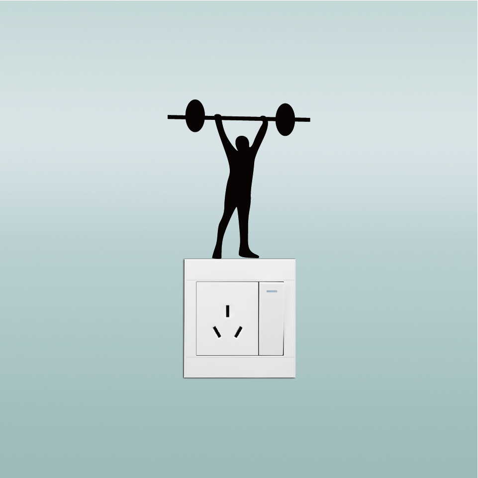 Crossfit Weightlifting Vinyl Switch Sticker Creative Cartoon Man Stiker Lampu Kucing Gantung Quantity1 Piece