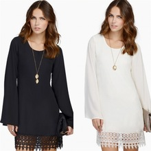 S-2XL women new spring autmun short dress loose pure color o neck long sleeve mini casual leisure lace