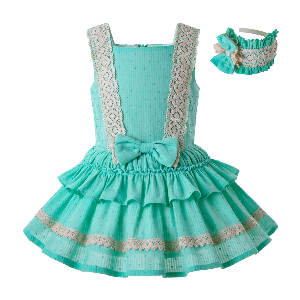Pettigirl Mint Green Girl Dress Lace Strape Dress Summer with Cute Bow and Layers Children Wear