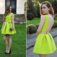 Elegante jurk gratis verzending neon skater jurk 3S66635 jonge dame jurk mode