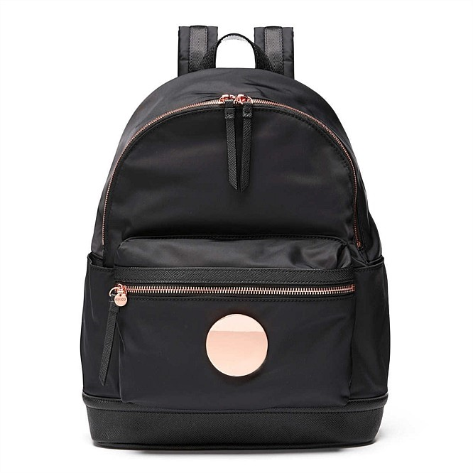 BLACK COLOR NYLON FABRIC WITH ROSE GOLD ROUND WAVER SURFACE BADGE BACKPACK