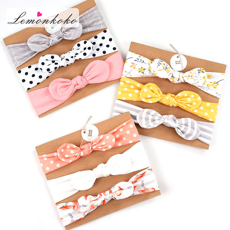 3 Pcs Kids Elastic Floral Headband Hair Girls Baby Hair Accessories Newborn Bowknot Elastic Bands Headwear Hairband Set