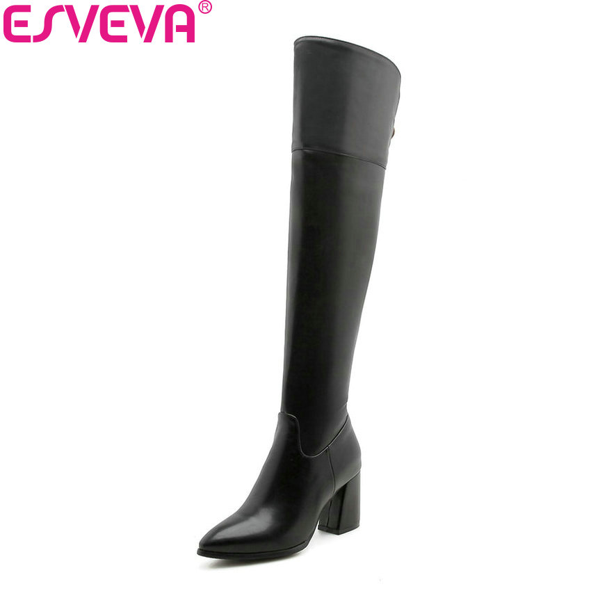 ESVEVA 2019 Women Over The Knee Boots Zipper Square High Heels Pointed Toe Solid Sewing Autumn Shoes PU Boots Woman Size 34-43 memunia big size 34 43 over the knee boots for women fashion shoes woman party pu platform boots zip high heels boots female