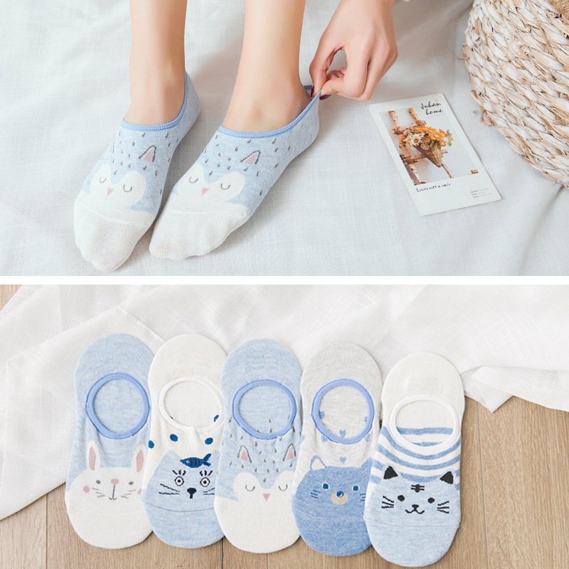 5 Pair/set Short Socks Women Summer No Show Ankle Socks Invisible Silicone Non Slip Boat Socks Funny Cute Animal Print Girl Sock