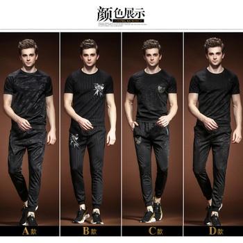male Men's summer clothes short-sleeved suit Korean t shirt pants 2 pieces set
