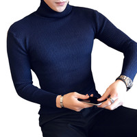 5 Colors 2017 Mens Autumn Winter Sweaters Pullover Male Turtleneck Sweater Jumper Knitted High Turtle Neck