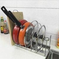 Bandeja de metal pote tampa organizador prato ajustável rack escorredor placa corte titular panelas suporte para armazenamento gabinete