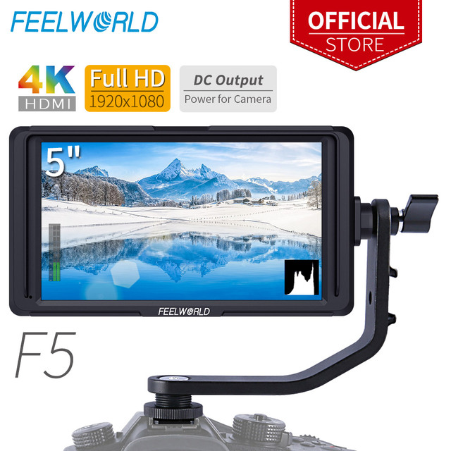 "FEELWORLD F5 5"" DSLR On Camera Field Monitor Small Full HD 1920x1080 IPS Video Peaking Focus Assist with 4K HDMI 8.4V DC Output"