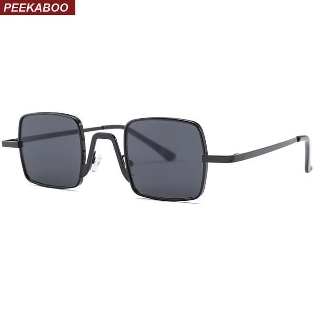 83a9da936c813 Peekaboo pequeno quadrado preto óculos de sol dos homens retro pequenos  óculos de sol óculos de