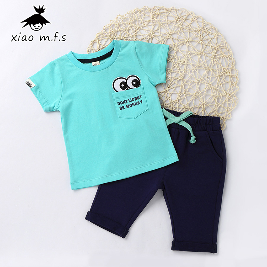 2017 Summer Cotton Baby Boys Girls Clothes Kids Short Sleeve Clothing Set Eye Toddler T-Shirts+Children Shorts 9M-3T MFS-E2003  summer t shirts for boys cotton kids shirts dinosaur short sleeve pullover clothes v neck boy t shirt fashion children clothing