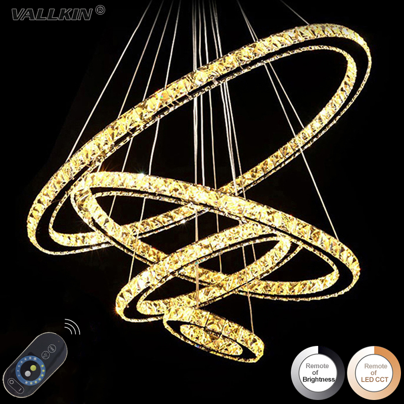 Dimmable LED Ring Crystal Chandeliers Pendant Lamps Modern Indoor Hanging Lamp Crystal Chandelier Pendants Fixtures with Remote modern crystal chandeliers home lighting decoration led pendant lamp ring hanging lamps indoor fixtures with remote control