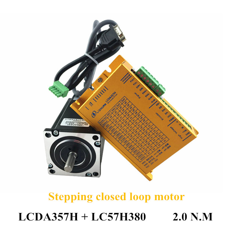 Hybrid Servo Kit 3 Phase 2N.M Nema 23 Closed Loop Stepper Motor Driver LCDA357H and 57mm 3.5A Motor LC57H380 For CNC 100w new leadshine closed loop system a servo drive hbs507 and 3 phase servo motor 573hbm10 1000 with a cable a set cnc part