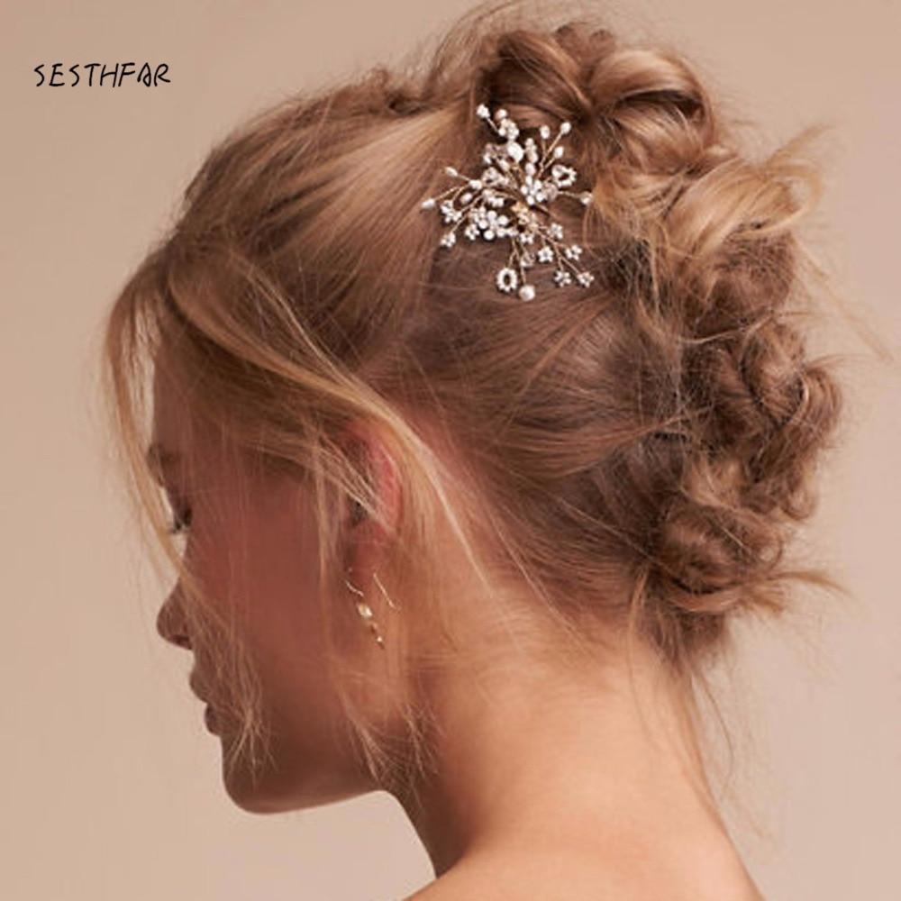 By Handmake Popular Crystal Wedding Bridal Comb Small White Flower
