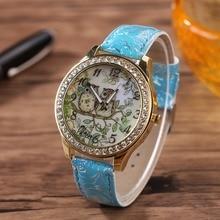 Les Amateurs de mode Montres Universelles Masculin Féminin de Bande Dessinée Hibou Couple Diamant Quartz Analogique Montre-bracelet Hommes Femmes casual Horloge montres