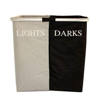 JILIDA grande plegable cesta de lavandería luz oscuro clasificador de pesado cesto de ropa sucia bolsa de almacenamiento organizador