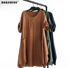 women cotton linen dresses 2017 plus size autumn dress woman loosen cotton casual fashion big size green  dress oversize