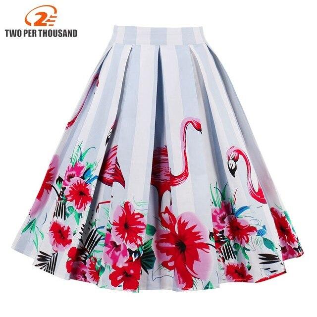 4588b68cee Mujeres 50 s 60 s impresión Floral Vintage Saia Midi faldas Feminino  partido bola Retro falda