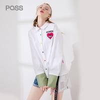 PASS Autumn Women Blouse Fashion Cartoon Print Heart Style Button White Blouse Turn Down Collar Long
