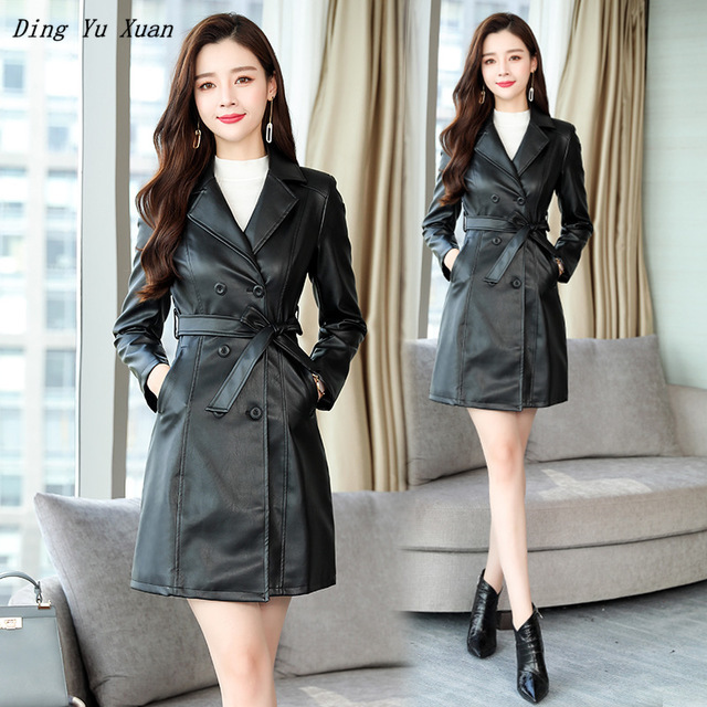 Womens Double Breasted Faux   Leather   Trench Coat for Women Pu   Leather   Blazer Jacket Ladies Long Slim Fit Trench Coat Black Red
