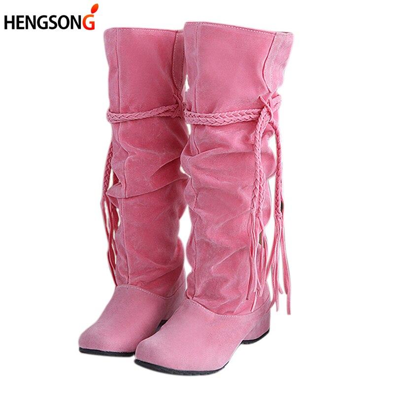 Новые женские ботинки осень-зима бахрома сапоги до середины колена дамы кисточкой флис Обувь женщина Botas feminina; большие размеры 35–43 916620