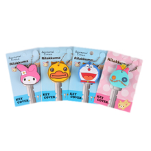 Cute Animal Cartoon Bear Mickey Hello Kitty Silicone Key Cover For Women Caps Chain Ring Holder Gifts