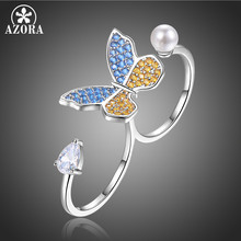 AZORA New Butterfly Pearl Bridal Sets Adjustable Open Rings for Women Wedding Party Femme Jewelry Cloth Accessories Gifts TR0233(China)