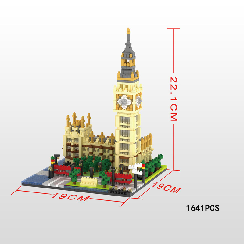 World famous architecture big ben nanoblock Elizabeth Tower London England UK micro diamon building block model toys for gifts цены онлайн