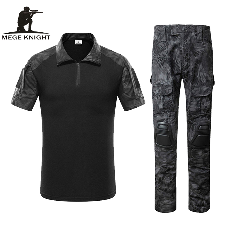Mege Tactical Gear Military Army ACU Uniform, Combat T-shirt Plus Pants with knee pads, Rapid Assault Airsoft Paintball Clothing