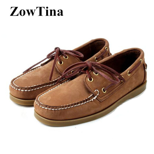 57fcd9ba4c60b Light Brown Men Boat Shoes Lace Up Flats Casual Driving Shoes Man Top Cow  Leather Chaussure