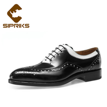 SIPRIKS brand mens spectator shoes custom goodyear welted dress shoes black and white oxfords shoes mens wedding shoes european