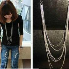 Hot Fashion Jewelry Vintage Retro Style Silver Color 7 Layer Long Tassel Pendant Necklace Sweater Chain Free Shipping