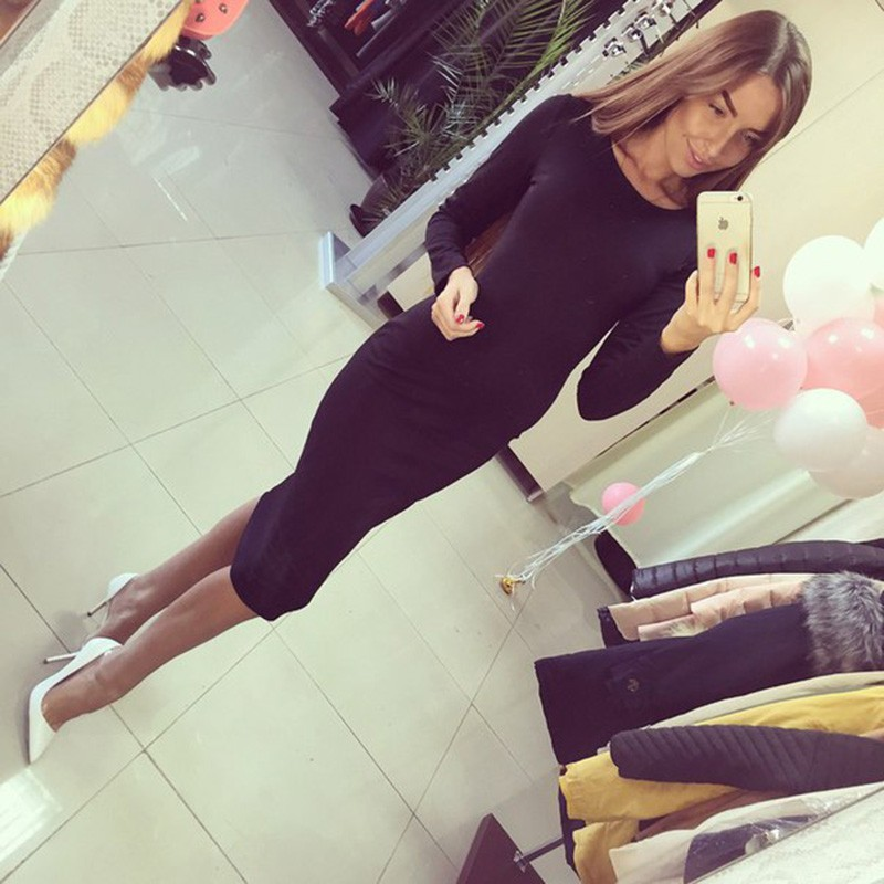 31e7f234a73bc CRESIDA Black Friday Casual Winter Dresses Fitted Pencil Dresses ...